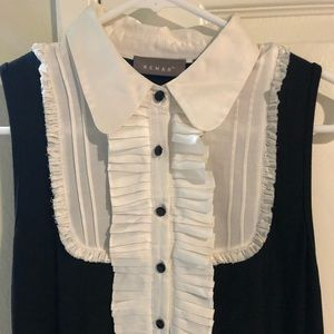 DESIGNER KENAR VINTAGE UNIQUE BLACK AND WHITE TOP